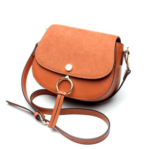 O-ni O-ni新款半圓包真皮磨砂圓環包包JDL-L6106-棕色