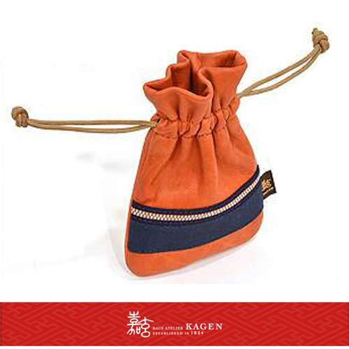 現貨嘉玄日本製手工束口袋相機包手機包小牛皮材質日本百年品牌小禮物1-043-橘色
