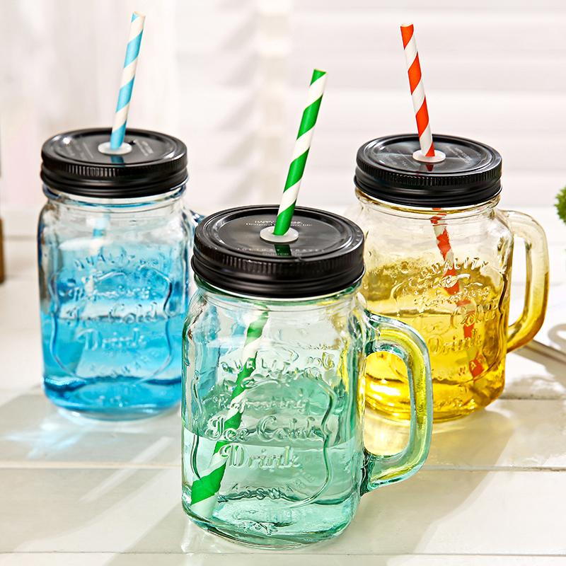 TT復古玻璃把手杯梅森罐頭瓶字母吸管水杯奶茶果汁杯瓶身浮雕設計夏天辦公室杯子
