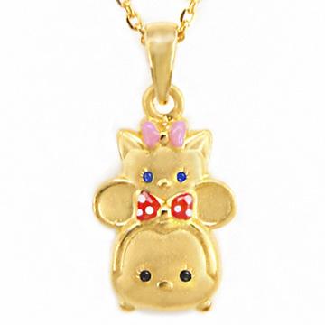 迪士尼系列金飾-TSUM TSUM造型黃金墜子-美妮&瑪麗貓款加贈金色鋼鍊