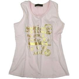 波克貓哈日網棉T恤-印花無袖挖背美背設計內襯小可愛粉紅色