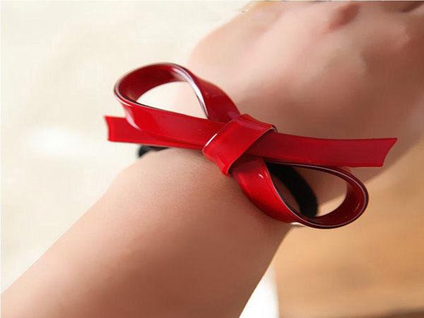 紅色簡約蝴蝶結造型髮束髮圈20254