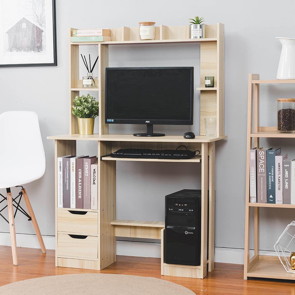 樂嫚妮 書櫃型書桌 工作桌 辦公桌 雙抽屜多格收納書桌-楓櫻木