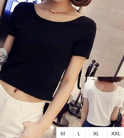 EASON SHOP GU1284短款露肚臍小露背圓領短袖T恤M-2XL女上衣白棉T短款性感高腰內搭閨密裝黑色白色素色
