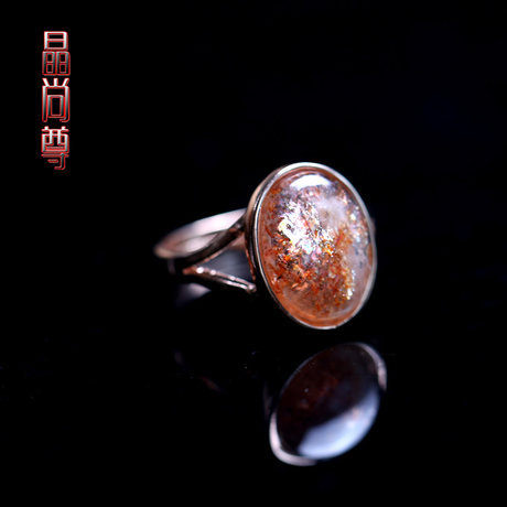 金草莓晶戒指玫瑰金鑲嵌