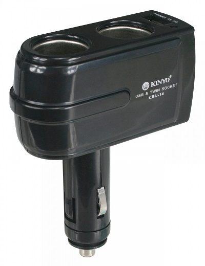 【鼎立資訊】【KINYO】2孔車用點煙器 USB充電擴充座 CRU14
