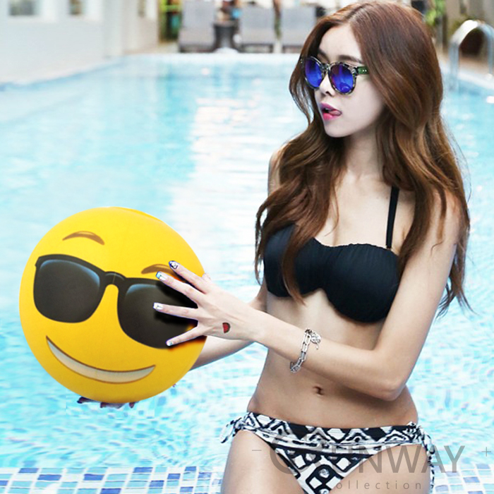 表情符號沙灘球18寸PVC充氣球戲水遊戲球FB表情海邊玩水泳具