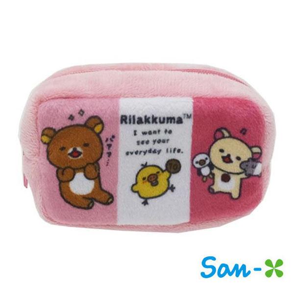 日本進口正版San-X拉拉熊粉紅款棉質長型收納包零錢包懶懶熊Rilakkuma 430108