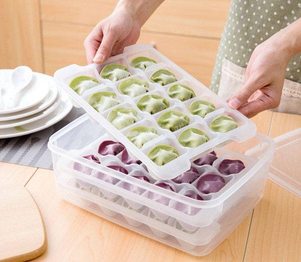 Qmishop 速凍餃子盒 冰箱保鮮收納盒凍餃子三層保鮮盒NG款 【QJ2138-A】
