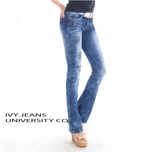 牛仔褲貼鑽雪花朵貼鑽靴型褲修長低腰牛仔褲S~XL 130828-404牛仔大學