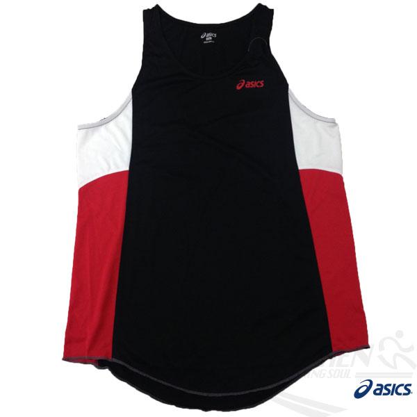ASICS 亞瑟士 男慢跑田徑背心 (黑*紅) 吸汗速乾 防紫外線 夜跑 路跑