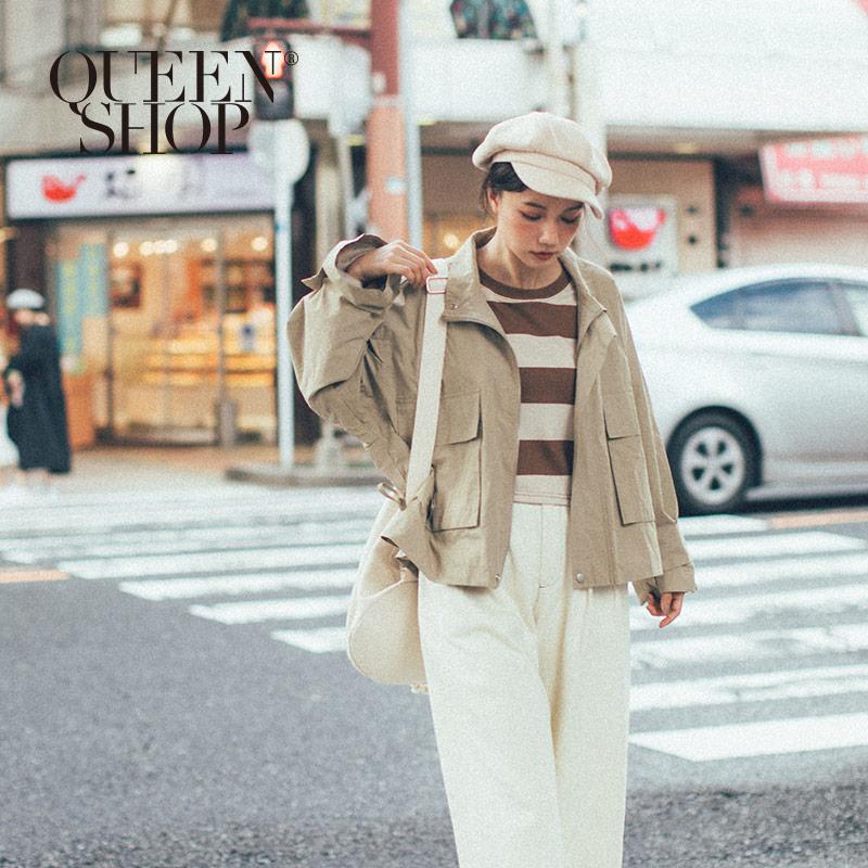 Queen Shop【02071131】雙口袋微立領寬袖外套*現+預*