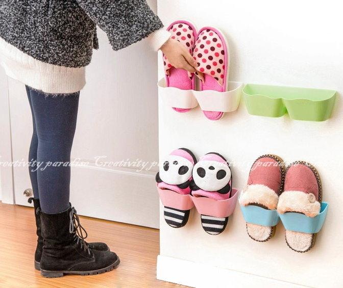 【壁面鞋架】節省空間收納 牆壁黏貼式 牆面 曲線式鞋掛 壁掛