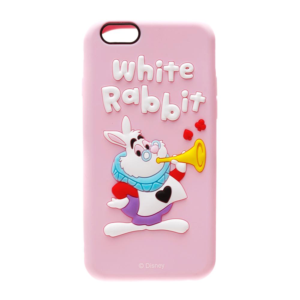 日本正版迪士尼Disney iPhone6 6S 3D浮雕矽膠系列軟殼保護殼保護套愛麗絲-白兔先生045