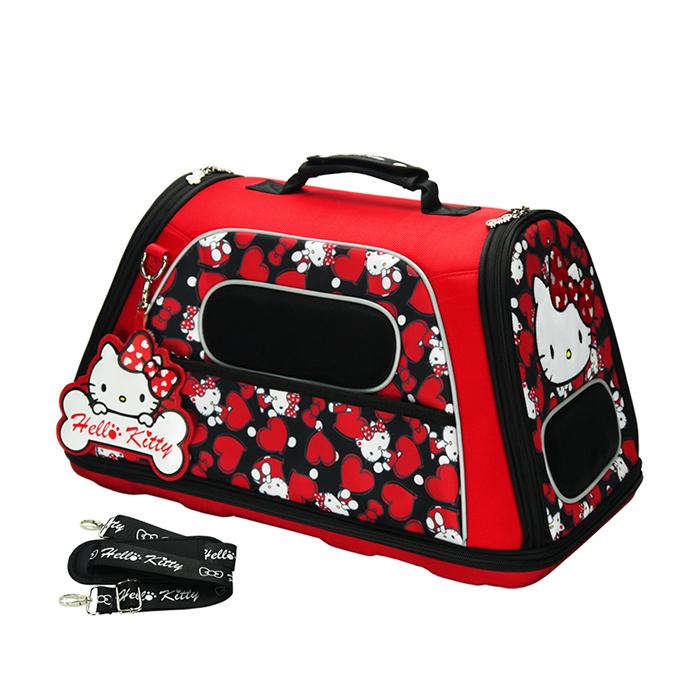 Hello Kitty凱蒂貓正版授權凡爾賽寵物側背箱外出籠黑YV8885快樂生活網
