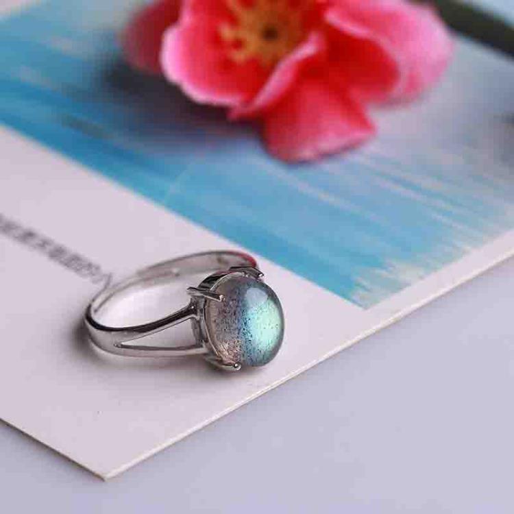 尼泊爾手工月光石戒指女拉長石指環戒面純銀飾品強光