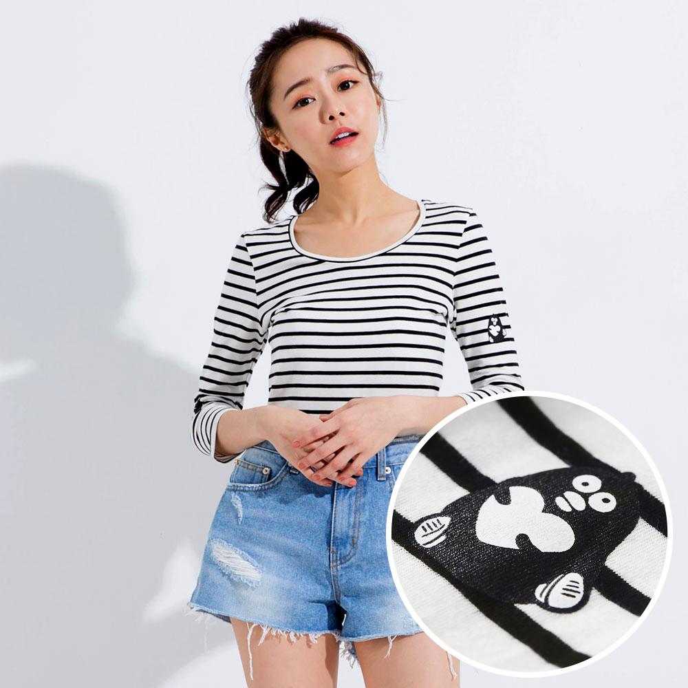 【101原創】台灣製.掰掰啾啾-XOXO圓領條紋七分袖T恤上衣(女)-7504046