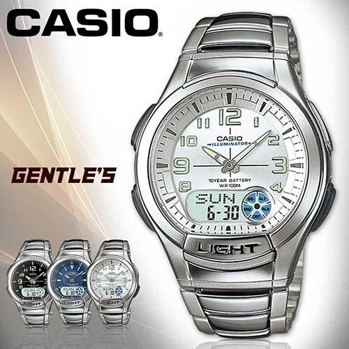 CASIO卡西歐手錶專賣店AQ-180WD-7B男錶雙顯錶白面不繡鋼錶帶計時器10年電池貪睡LED電子照明