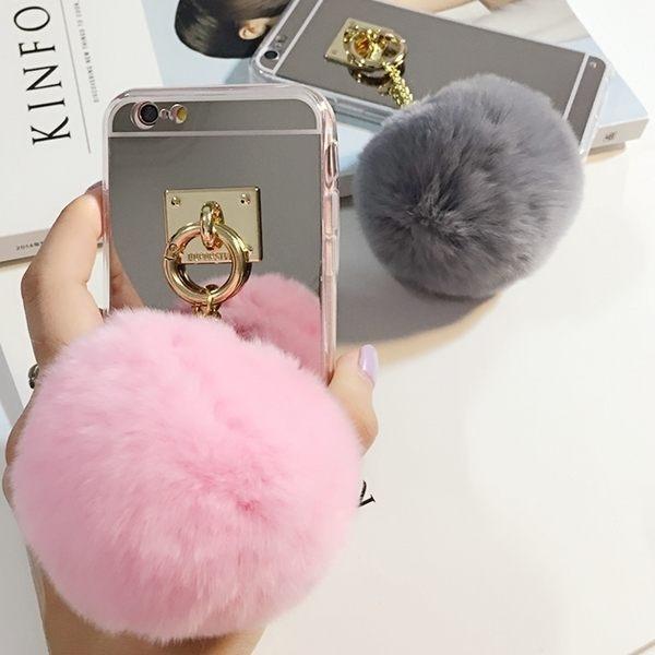 SZ62 PP電鍍鏡面兔毛毛毛球iphone 6 plus手機殼手機殼手機套iphone 6s 6s手機殼iphone 6s手機殼