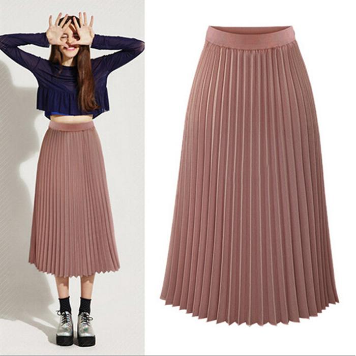 細針織毛衣鬆緊腰百褶長裙-80cm   (黑 灰 紅 白)四色售