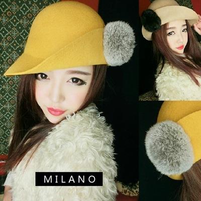 貝雷帽-可愛兔毛球時尚馬術毛呢女帽子7色72b34巴黎精品