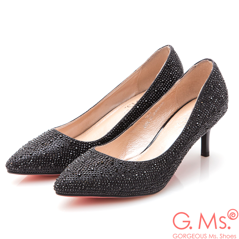 G.Ms.*  G.Ms. 花嫁系列-尖頭貼鑽新娘鞋*黑色