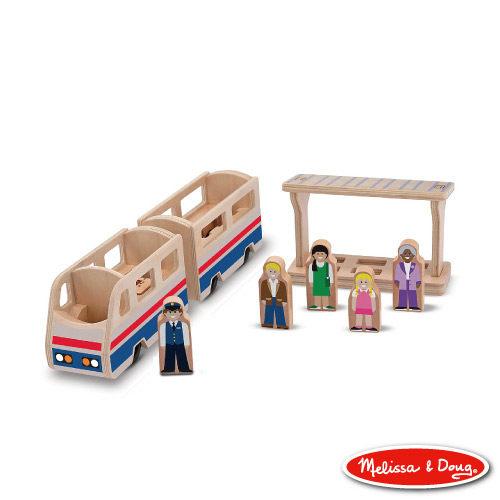 美國瑪莉莎Melissa Doug交通工具小人國木製火車列台