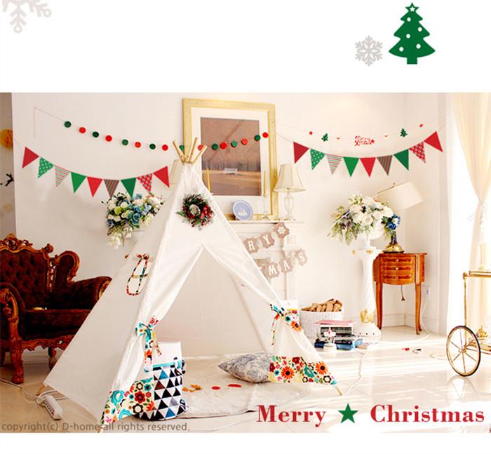 【韓風童品】聖誕掛飾 新年裝飾 節慶佈置 聖誕掛件 聖誕紙質三角旗 雙面印刷聖誕裝飾
