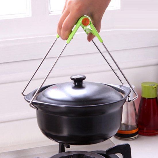 MY COLOR不鏽鋼防燙夾電鍋加熱料理烘焙烹飪用餐食物隔熱蓋子夾取懸掛N92-1
