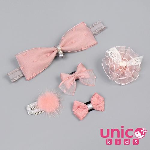 UNICO 兒童 少髮量寶寶質感粉系列髮帶髮夾組合-5入組