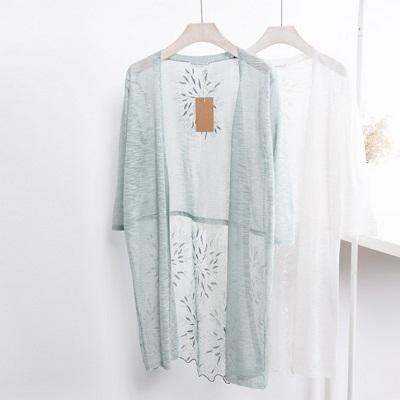 針織外套中長版-薄款刺繡開襟防曬女亞麻罩衫7色73fb10巴黎精品