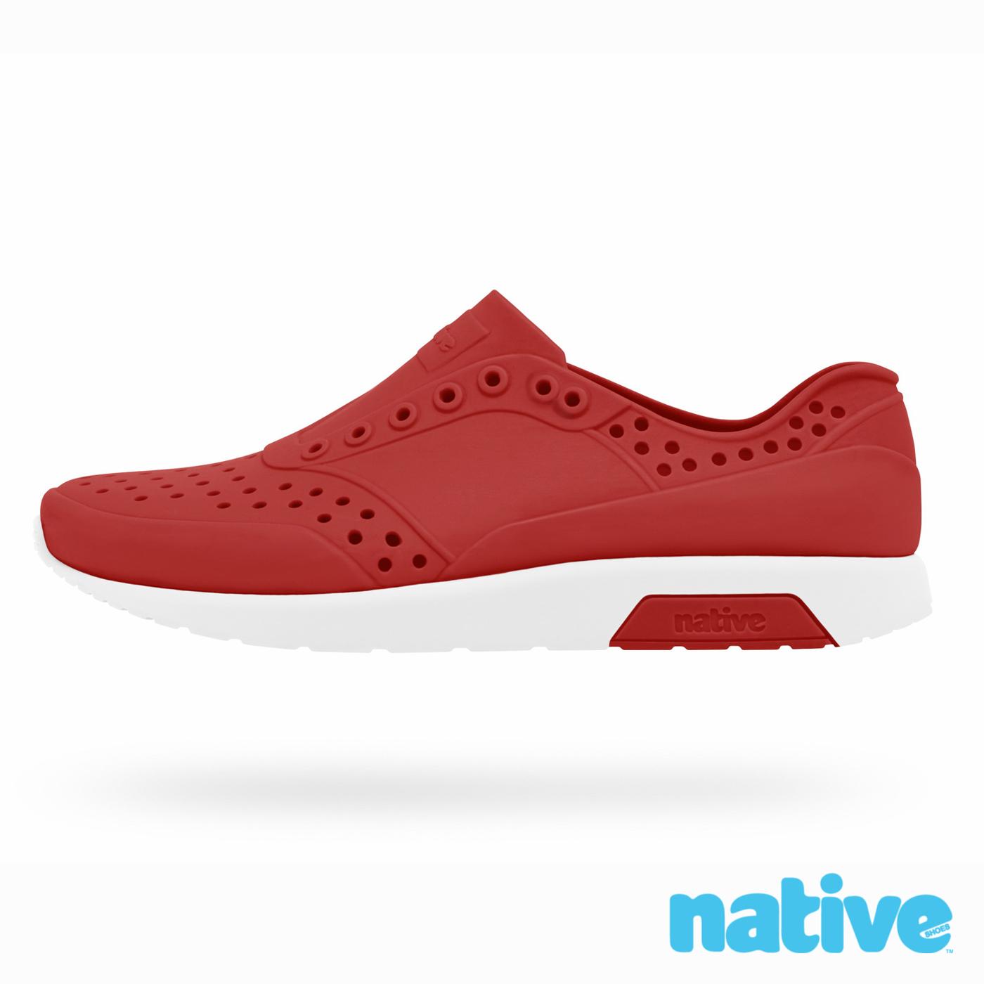 native LENNOX CHILD雷諾鞋-蘋果紅x貝殼白小童