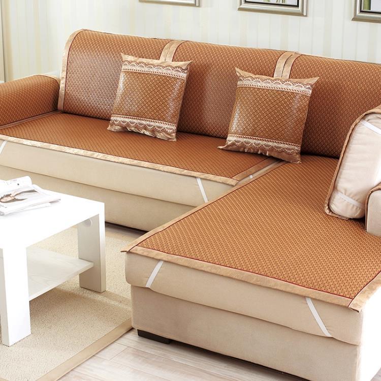 沙發墊夏季涼席涼墊冰絲沙發席子通用竹墊客廳歐式沙發套簡約現代tw幸福家居