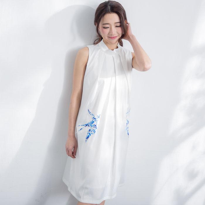 氣質立領緞面貼花洋裝 [MDD160006]