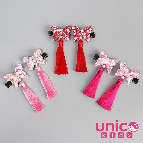 UNICO 兒童 中國風立體古典蝴蝶結流蘇對夾/髮夾-2入組