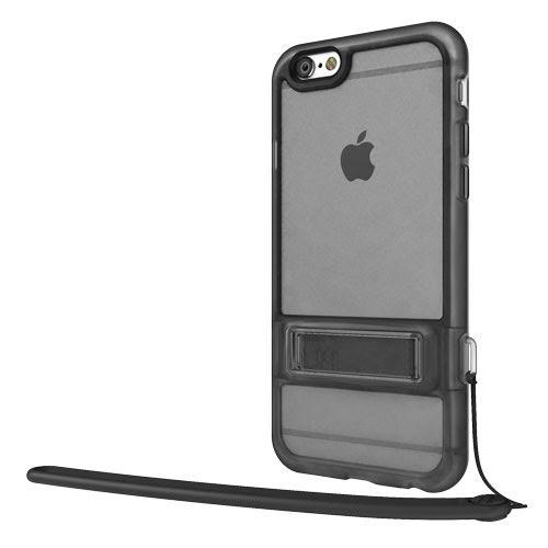 SwitchEasy Play iPhone 6s 6可掛繫繩及有橫放支架保護殼黑框霧透黑背板