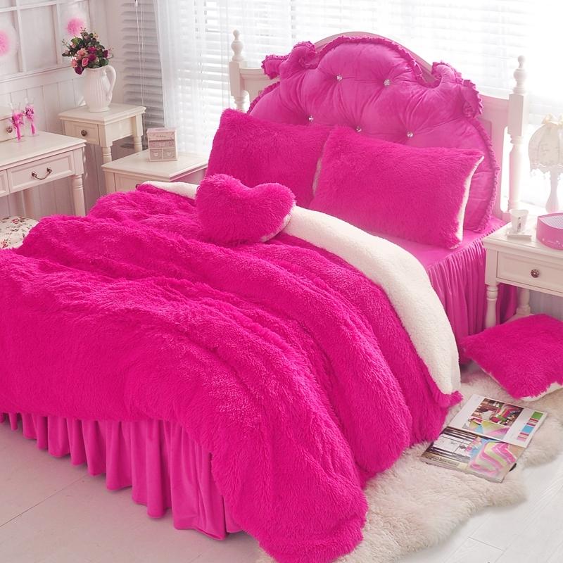 法蘭絨床罩組桃紅羊羔絨5尺加絨雙人床包法蘭絨床組兩用被毯ikea訂製刷毛佛你企業