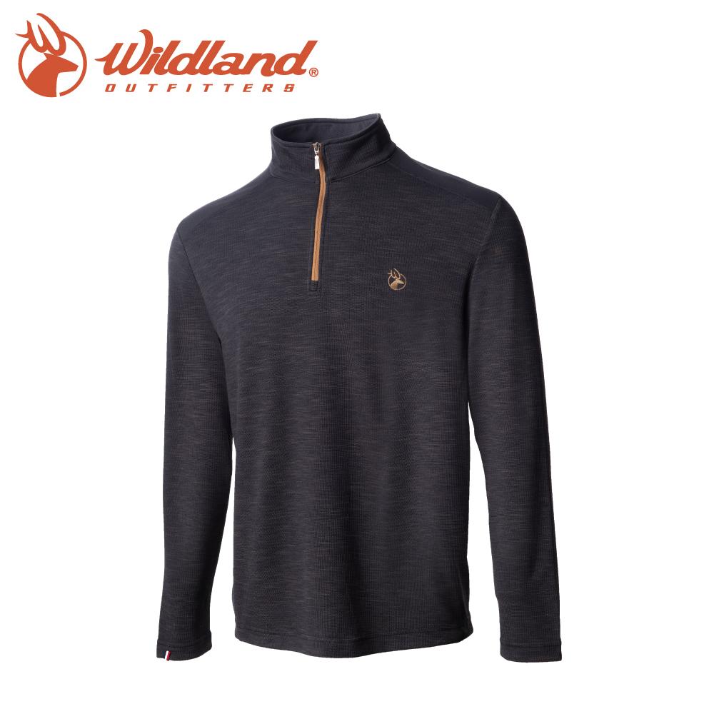 【Wildland 荒野 男 彈性雙色立領長袖上衣《深灰》】0A72608/半領襟/運動衣/休閒衫/吸濕排汗
