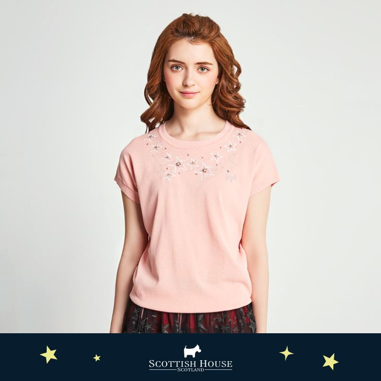 網紗貼繡星星縫珠針織 Scottish House【AJ1455】