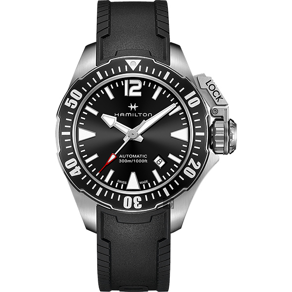 Hamilton漢米爾頓卡其海軍系列蛙人潛水機械錶-黑42mm H77605335