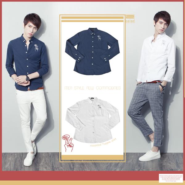 SW零碼出清韓雅痞修身顯瘦英倫圖案小防皺質感棉質窄版素面長袖襯衫K61267