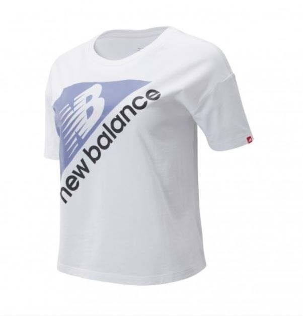 New Balance 女款白色大LOGO休閒短袖上衣-NO.AMT93522AG