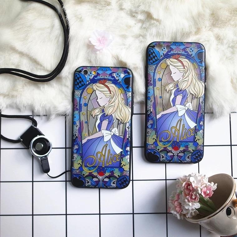 iPhone手機殼可掛繩韓國氣質愛麗絲金屬按鍵浮雕硬殼軟邊蘋果iPhone7 iPhone6