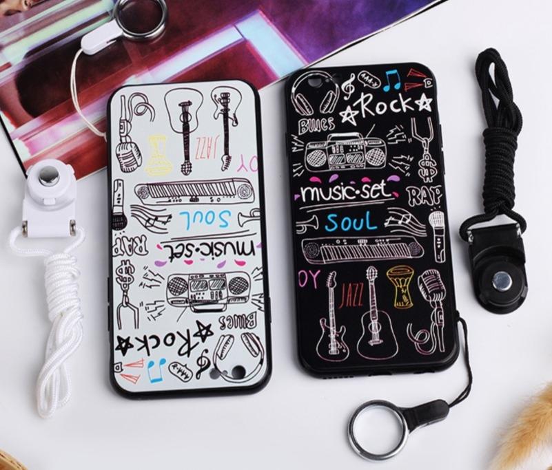 蘋果手機殼iPhone7 iPhone6 plus i6s i7掛繩創意音樂保護套浮雕潮全包防摔