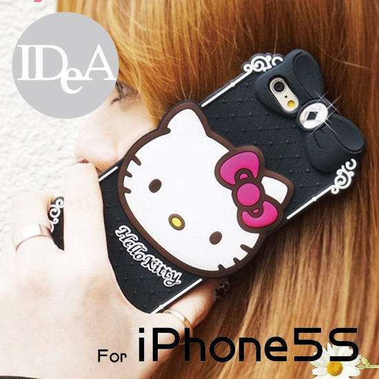 Sanrio三麗歐iPhone5S Hello Kitty大頭水鑽矽膠保護套凱蒂貓手機軟殼KT APPLE蘋果