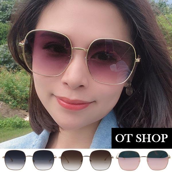 OT SHOP太陽眼鏡‧中性情侶款 顯小臉方型金屬細框 復古墨鏡‧黑灰色/茶色/玫瑰金‧現貨‧U111