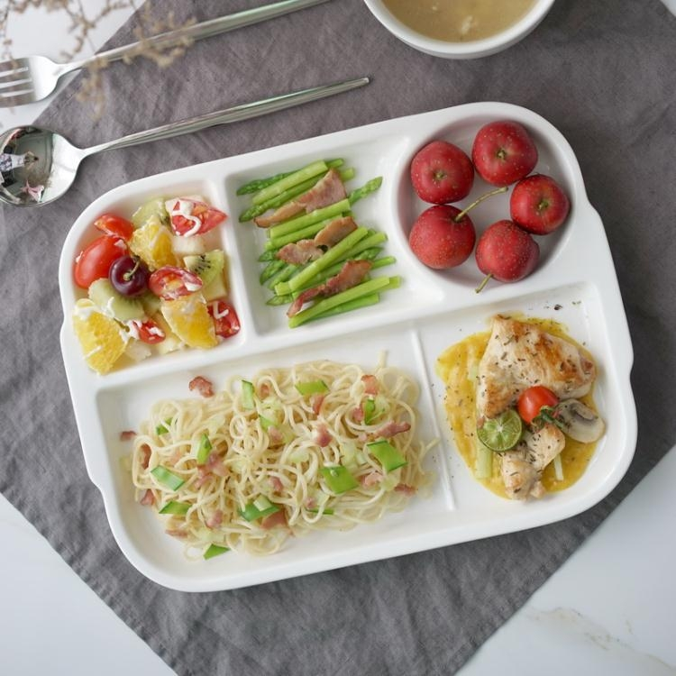創意陶瓷分格盤早餐盤西餐盤子牛排盤快餐盤兒童餐盤點心分隔盤蘇迪蔓