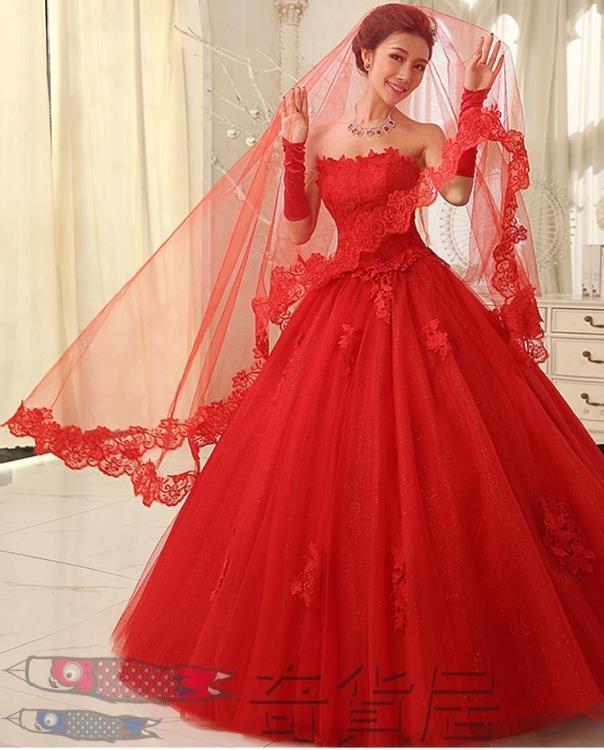 唯美紅色新娘結婚頭紗單層蕾絲花邊