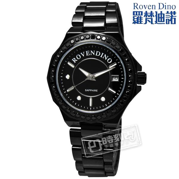 羅梵迪諾Roven Dino RD6046閃耀美學頂級藍寶石玻璃不鏽鋼手錶鍍黑35mm