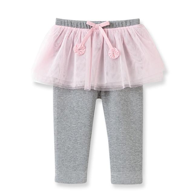 Dave Bella假兩件紗裙內搭褲淺灰底粉色紗裙DB1599